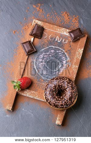 Donut With Fresh Strawberries And Chocolate