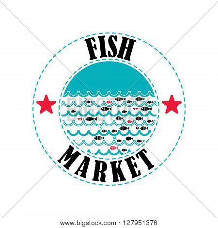 Fish market logo. Vector local fish market logo. Vector seafood market emblem. Cartoon fish pattern.