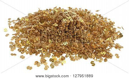 Mountain gold dollars isolated on white background 3d illustration