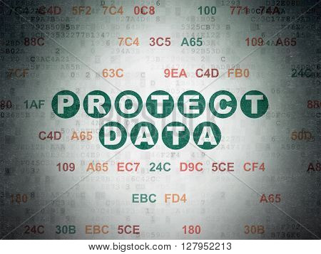 Security concept: Painted green text Protect Data on Digital Data Paper background with Hexadecimal Code