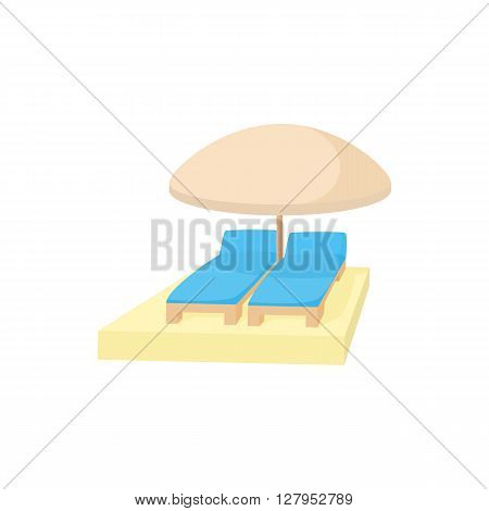 Chaise longues under umbrella icon in cartoon style on a white background