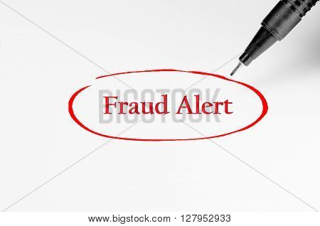 Fraud Alert On White Paper - Business Concept
