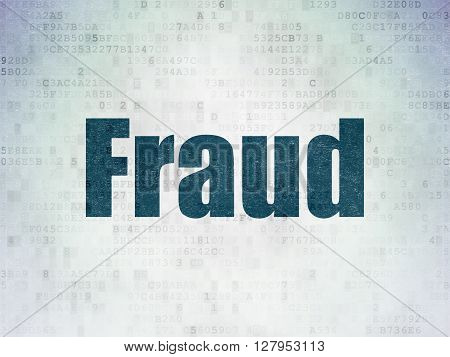 Safety concept: Painted blue word Fraud on Digital Data Paper background