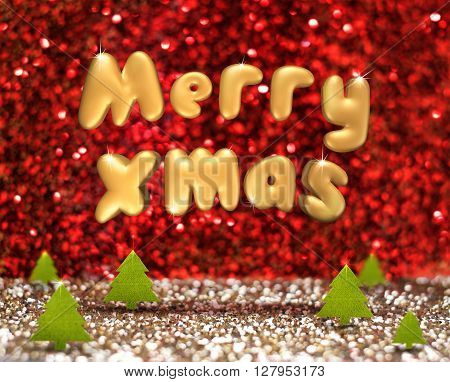 Merry Xmas (3D Rendering Text) Floating Over Green Christmas Tree In Red And Gold Glitter Studio Roo