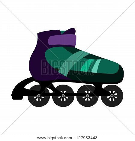 illustration of green inline skates flat style