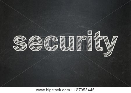 Safety concept: text Security on Black chalkboard background
