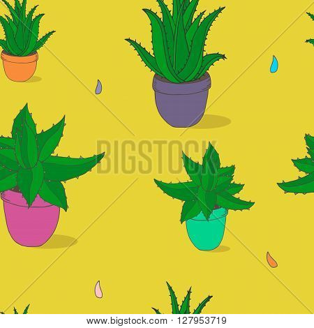 Seamless vector texture with Aloe Vera in pot. Hand drawn Aloe Vera pattern