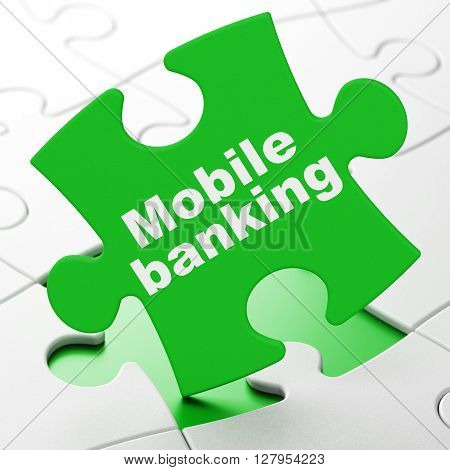 Money concept: Mobile Banking on Green puzzle pieces background, 3D rendering