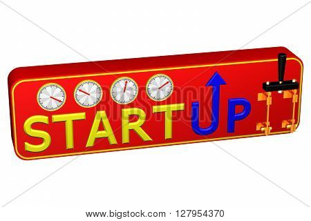 Concept: Startup isolated on white background. 3D rendering.