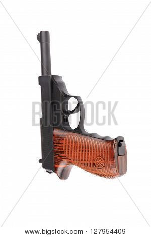 image of one pneumatic pistol isolated on white