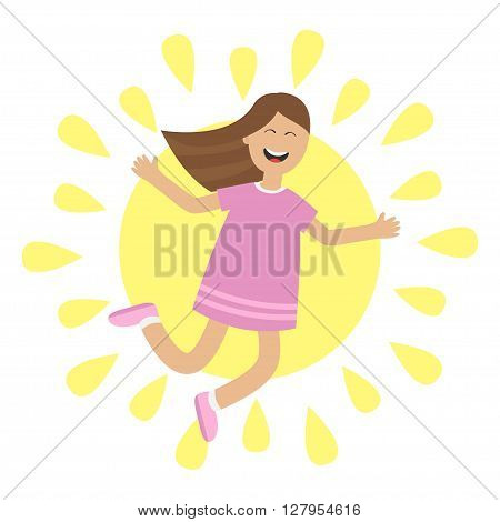 Girl jumping isolated. Sun shining icon. Summer time. Happy child jump. Cute cartoon laughing character in violet dress. Smiling woman. White background. Flat design Vector illustration