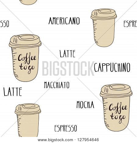 Seamless vector texture with coffee to go. Doodle pattern with coffee cups