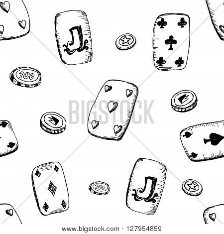 Seamless pattern with playing cards and chips. Vector doodle background