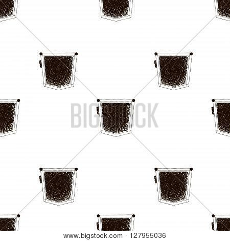 Seamless pattern with jeans pockets. Black and white doodle texture. Vector illustration