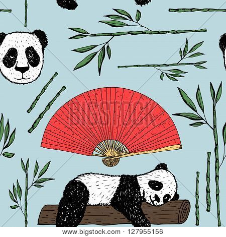 Seamless pattern with panda Japanese fan and bamboo. Japanese background