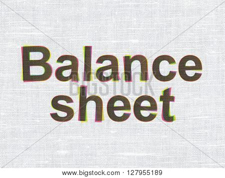 Currency concept: CMYK Balance Sheet on linen fabric texture background