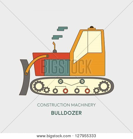 Bulldozer vector icon. Heavy equipment vehicle isolated on white