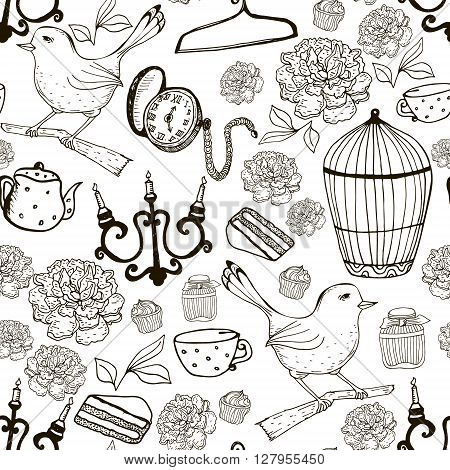 Seamless pattern with bird bird cage pocket watch candle holder. Vector outline Vintage texture