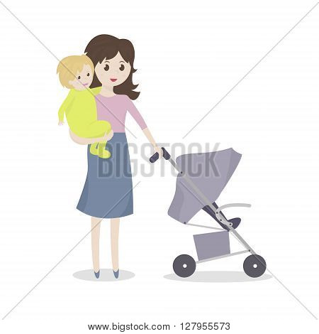 Mother with baby and stroller. Young mom holding a baby in her arms. Vector Illustration