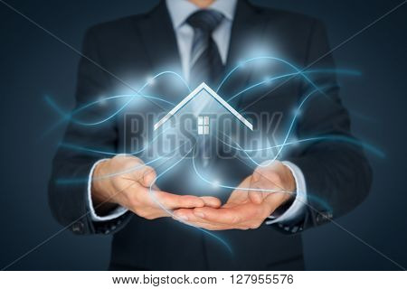 Intelligent house smart home and home automation concept. Icon of the house and wireless communication.