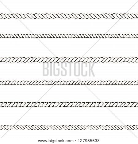 Seamless rope pattern. Black and white hand drawn texture. Vector illustration