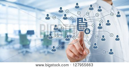 Corporate data management system (DMS) and document management system with privacy theme concept. Businessman click (or publish) on protected document connected with users access rights symbolized by key office in background.