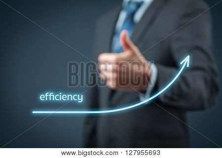 Efficiency increase concept. Businessman is satisfied with company efficiency growth.