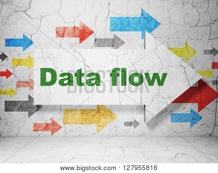 Information concept:  arrow with Data Flow on grunge textured concrete wall background, 3D rendering