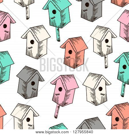 Seamless vector texture with colorful nesting boxes. Hand drawn Spring pattern