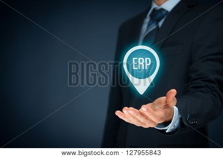 Enterprise resource planning ERP concept. Businessman offer ERP business management software for collect store manage and interpret business data.