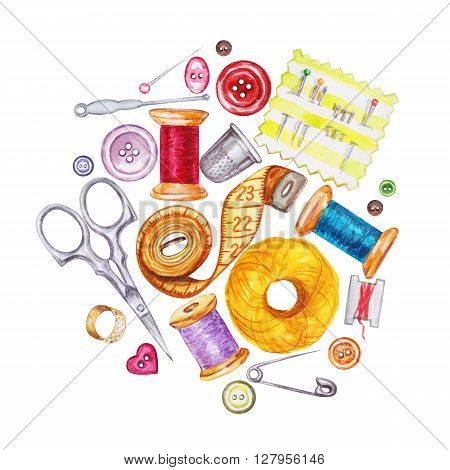 Various watercolor sewing tools. Sewing kit accessories and equipment for sewing. Tools for needlework. Scissors buttons bobbins with thread and needles