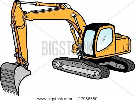 excavator isolated on the white, vector illustration