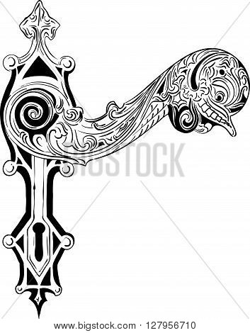 Decorative door handle on the white. vector illustration
