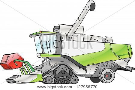 vector green harvester isolated on the white