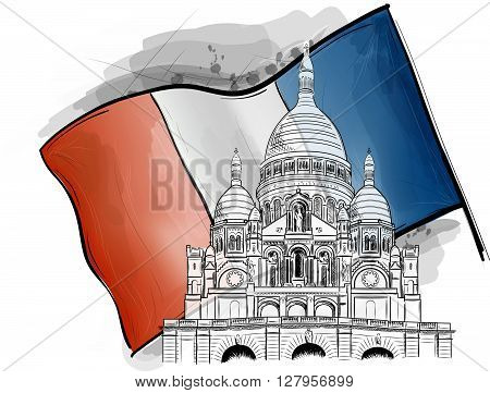 sacre coeur on the france flag, vector monument