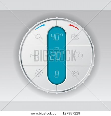 Wash machine control panel with turquoise lcd showing temperature program and time