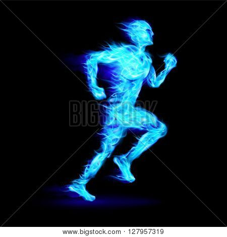 Blue fiery running man with motion effect on black background