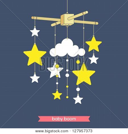 Newborn toy. Vector mobile for baby shower invitation. Vector baby mobile for baby card design. Vector hanging baby toy.