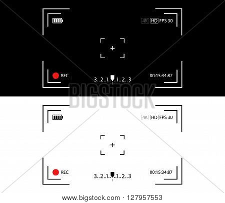 Camera view vector illustration. Camera viewfinder concept. Video camera focusing screen. Recording view screen. Camera display on black and white background.