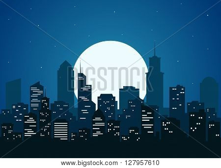 Night city vector illustration. Night cityscape in flat style. Night city silhouette. Night city skyline abstract background. Modern night city landscape. Dark urban scape.