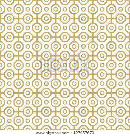 Geometric abstract vector background. Seamless modern pattern. Golden octagonal pattern