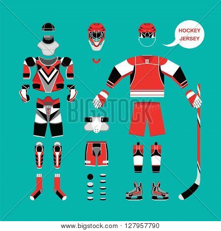 Set of hockey gear, ammunition for the player. Set of clothing elements for a hockey game