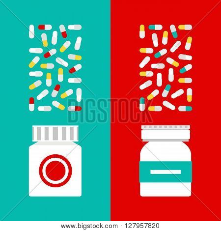 Medical flat vector illustration. Vector medical treatment. Medical treatment set in a flat style. Vector vitamins in pills.