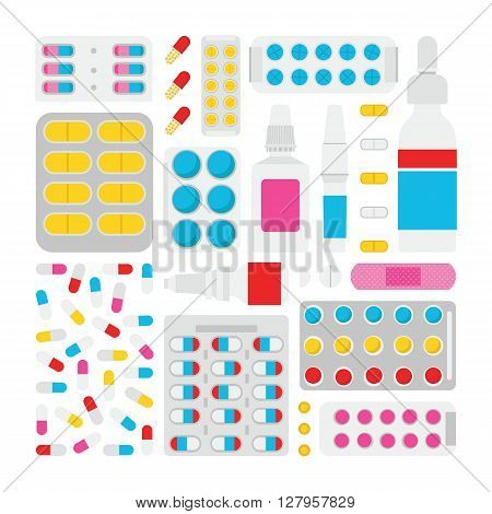 Medical flat vector illustration. Vector medical treatment. Medical treatment set in a flat style. Disease and medical treatment.