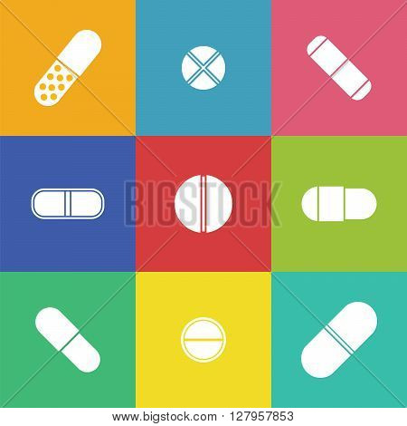 Vector drugs icons: pills vitamins capsules. Medicine vector. Medical first aid for colds. Vector pills icons. Isolated pills icons. Vector vitamins.