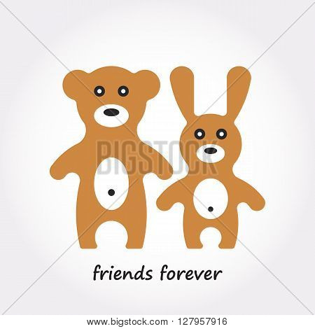 Animals toy of rabbit and bear. Cute cartoon animals isolated on white background. Vector illustration of adorable animals.