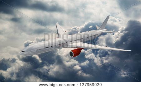 Big airplane above the clouds. Airliner in the heaven. Commercial plane on the dramatic storm sky. 3D rendered image.