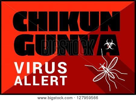 Chikungunya virus allert flat vector outline illustration.