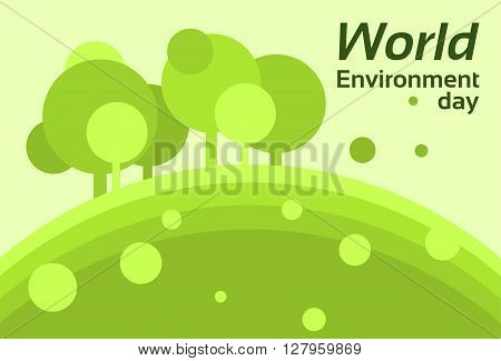 World Environment Day Earth Protection Silhouette Forest Nature Landscape Tree Flat Vector Illustration