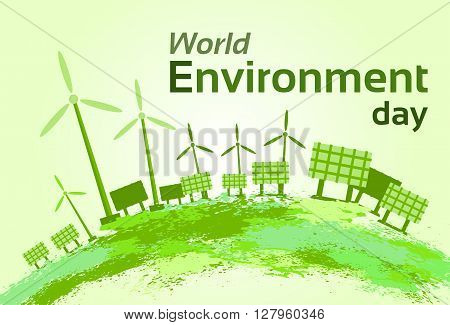 Green Wind Turbine Solar Energy Panel World Environment Day Flat Vector Illustration